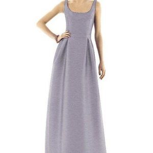 ALFRED SUNG  SCOOP NECK SLIM A-LINE DUPIONI GOWN